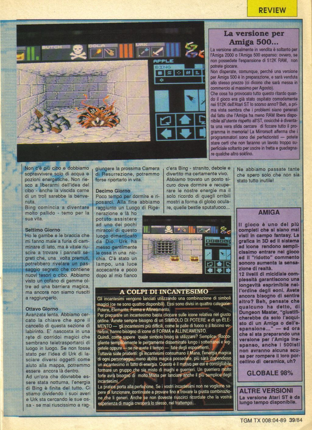 Dungeon Master for Amiga Review published in Italian magazine 'The Game Machine', Issue #8, April 1989, Page 39