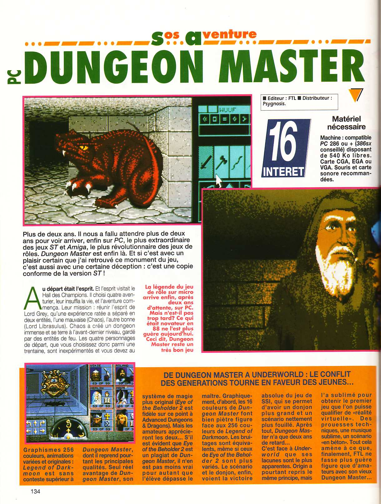 Dungeon Master for PC Review published in French magazine 'Tilt', Issue #106, October 1992, Page 134