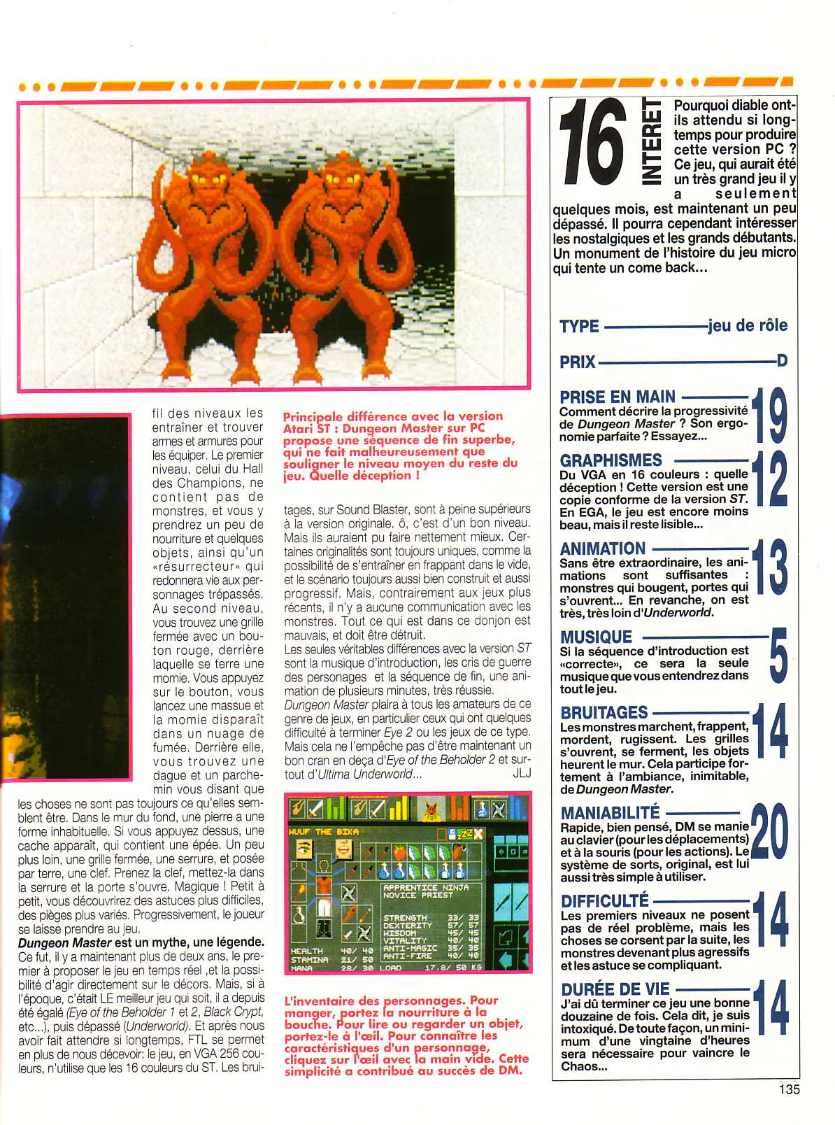 Dungeon Master for PC Review published in French magazine 'Tilt', Issue #106, October 1992, Page 135