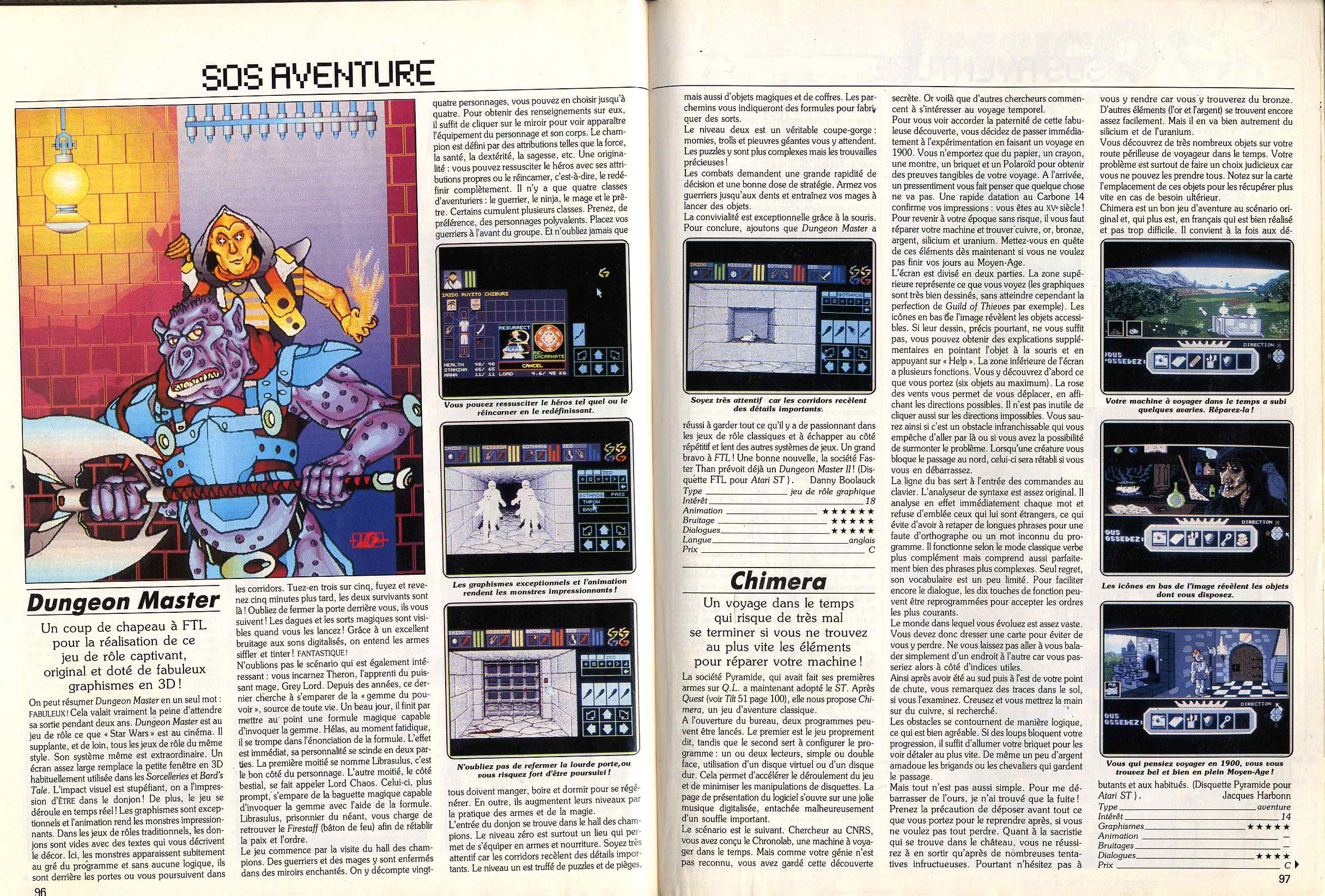 Dungeon Master for Atari ST Review published in French magazine 'Tilt', Issue #52, March 1988, Pages 96-97