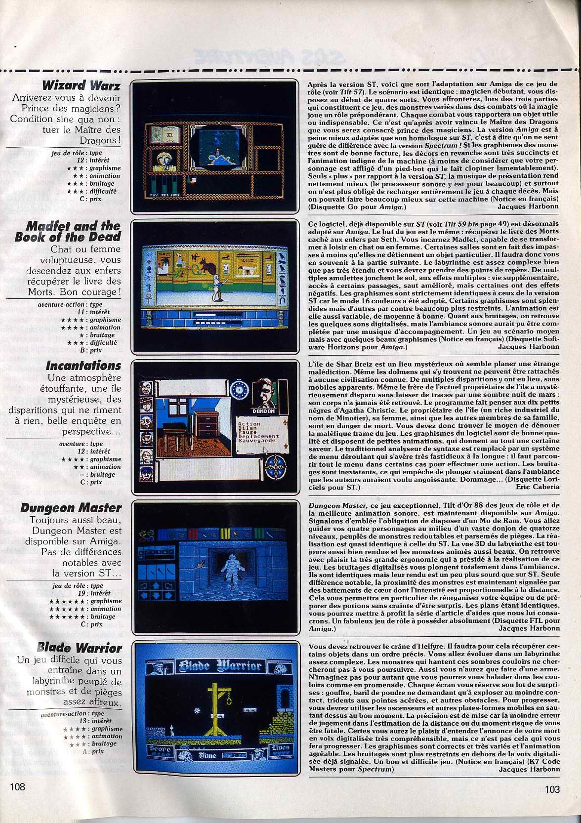 Dungeon Master for Amiga Review published in French magazine 'Tilt', Issue #63, February 1989, Page 103