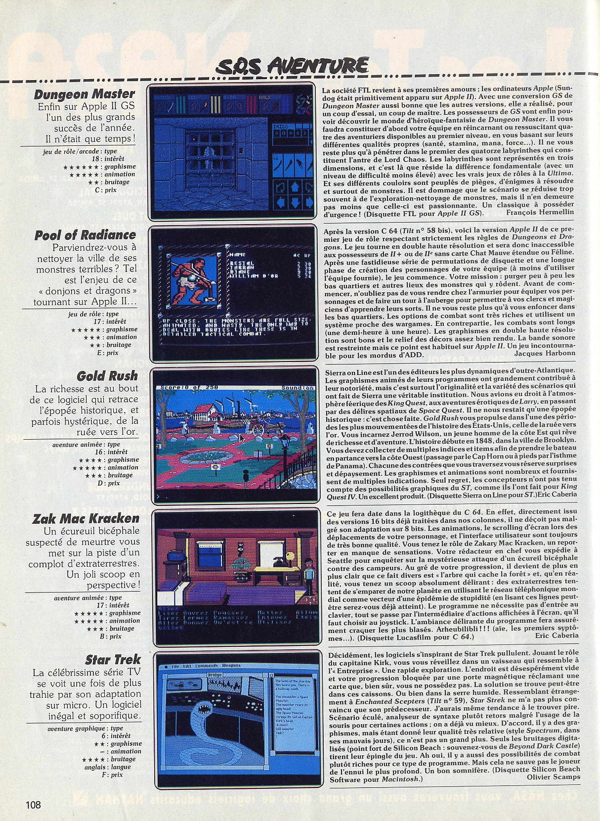 Dungeon Master for Apple IIGS Review published in French magazine 'Tilt', Issue #66, May 1989, Page 108