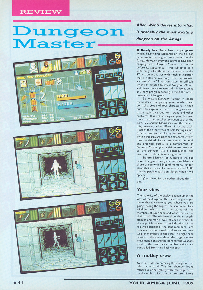 Dungeon Master for Amiga Review published in British magazine 'Your Amiga', June 1989, Page 44