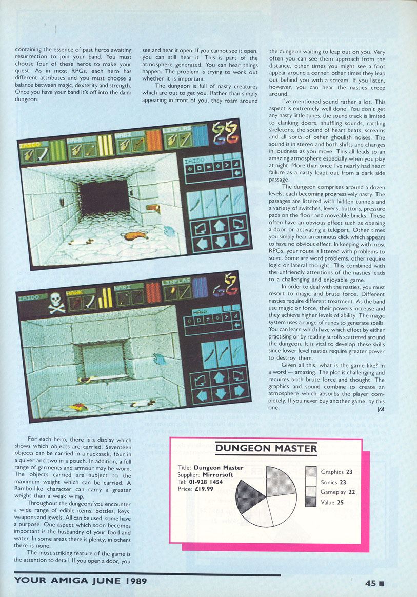 Dungeon Master for Amiga Review published in British magazine 'Your Amiga', June 1989, Page 45