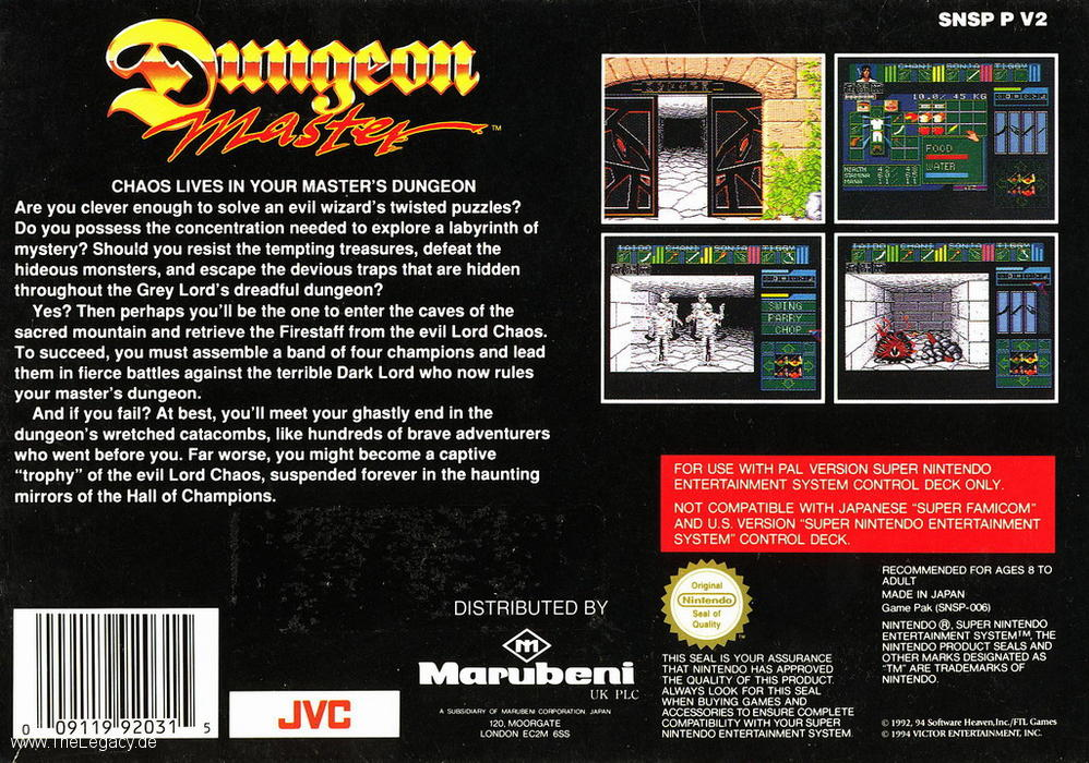 Dungeon Master for Super NES - Europe - Box Back