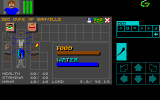 Dungeon Master for Amiga version 2.0 Screenshot - In game inventory