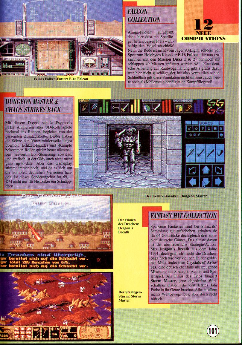 Dungeon Master and Chaos Strikes Back compilation for Amiga Review published in German magazine 'Amiga Joker', February 1993, Pages 101
