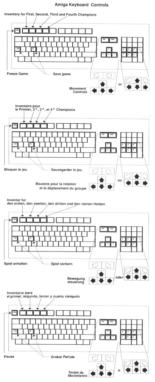 Dungeon Master and Chaos Strikes Back Amiga Keyboard Controls