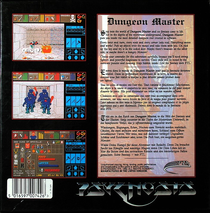 Dungeon Master and Chaos Strikes Back Compilation for Amiga - Psygnosis release in UK - Box Back