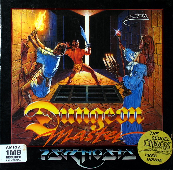 Dungeon Master and Chaos Strikes Back Compilation for Amiga - Psygnosis release in UK - Box Front
