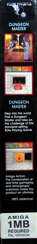Dungeon Master and Chaos Strikes Back Compilation for Amiga - Psygnosis release in UK - Box Side