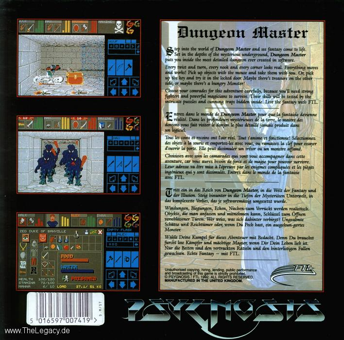 Dungeon Master and Chaos Strikes Back for Atari ST (Bundle, UK, Psygnosis) - Box Back