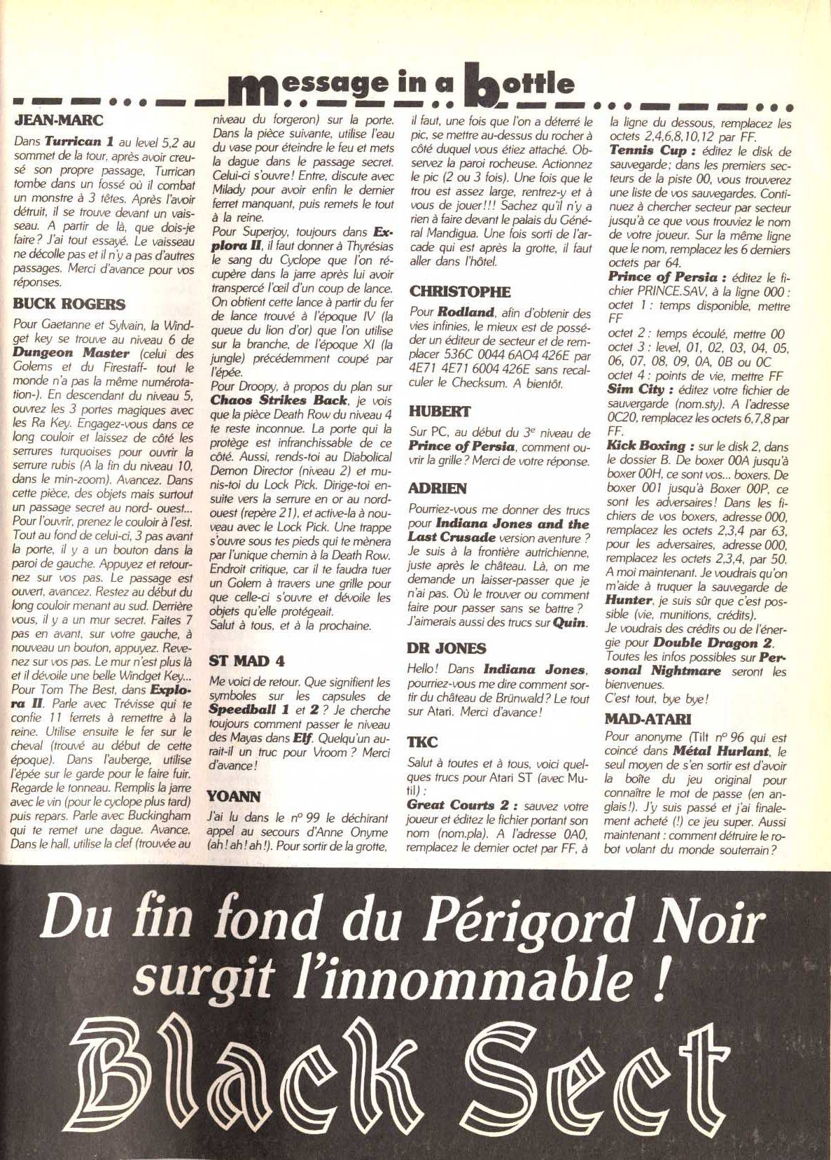Dungeon Master and Chaos Strikes Back Hints published in French magazine 'Tilt', Issue#101, April 1992, Page 147