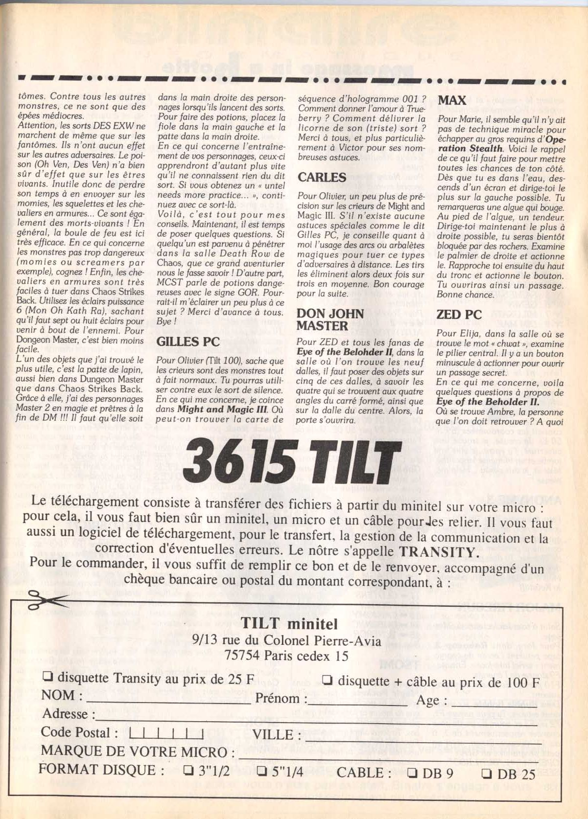 Dungeon Master and Chaos Strikes Back Hints published in French magazine 'Tilt', Issue #103, June 1992, Page 137