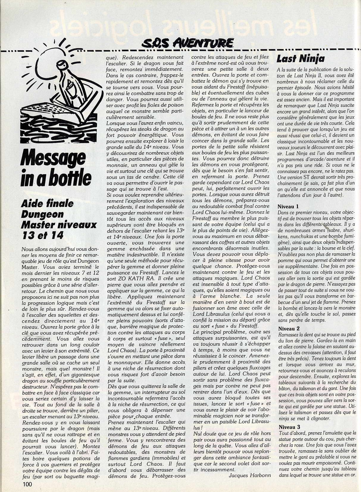 Dungeon Master and Chaos Strikes Back Hints published in French magazine 'Tilt', Issue#67, June 1989, Page 100