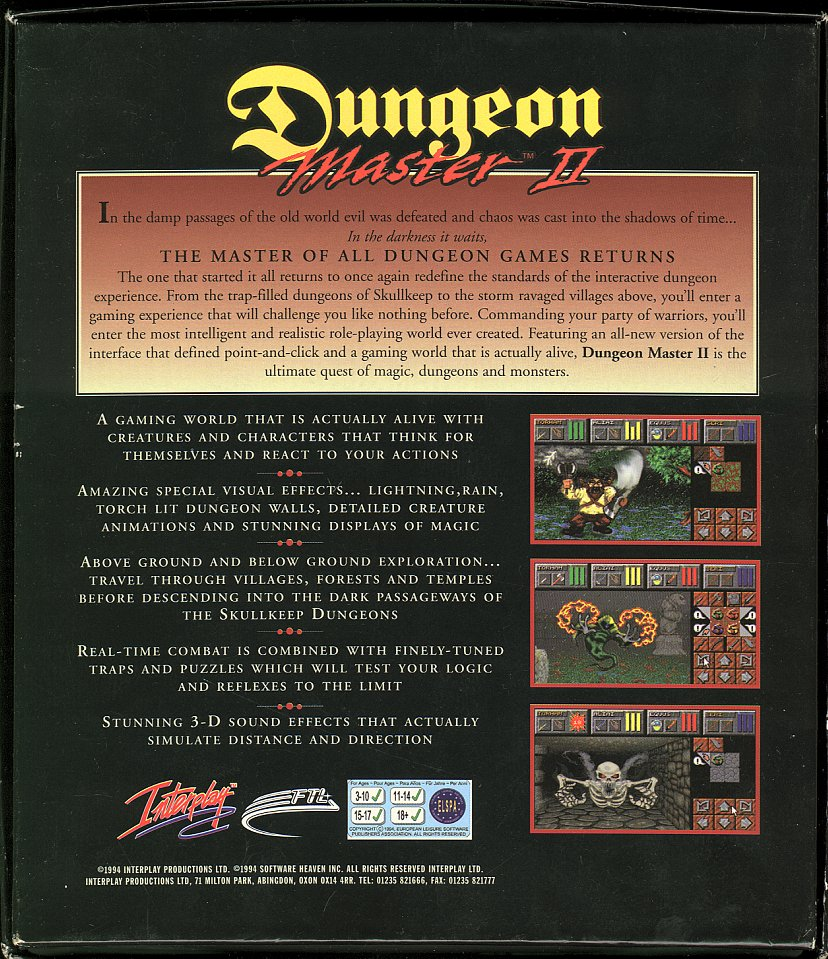Dungeon Master II for Amiga - Box Back