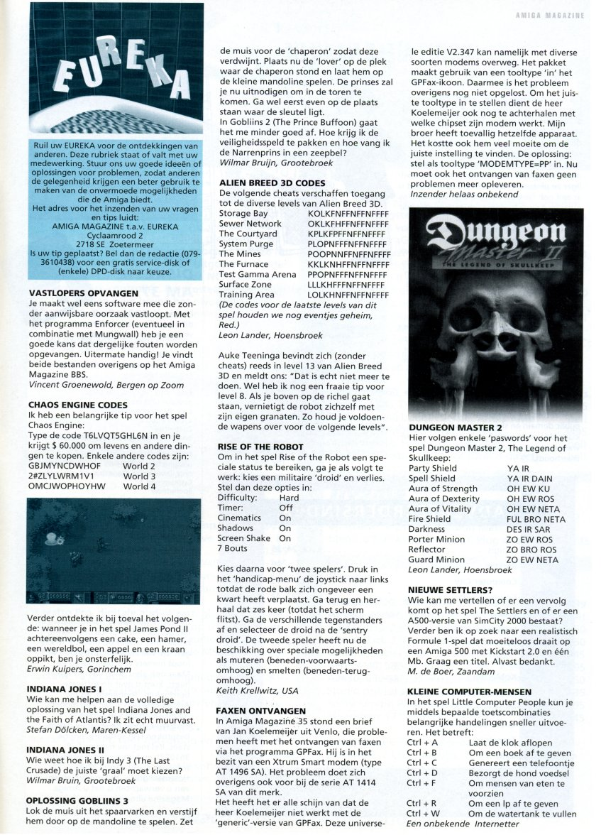 Dungeon Master II Hints published in Dutch magazine &amp;#039;Amiga Magazine&amp;#039;, Issue #37, January-February 1996, Page 81