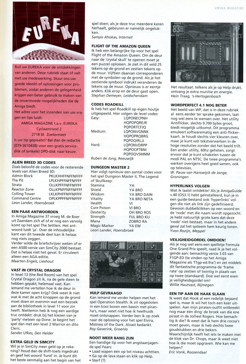 Dungeon Master II Hints published in Dutch magazine 'Amiga Magazine', Issue #38, March-April 1996, Page 81