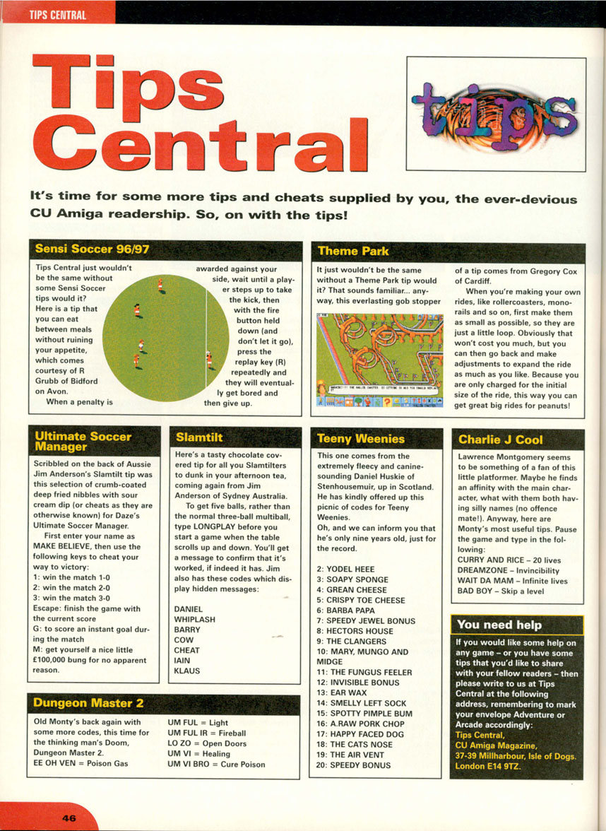 Dungeon Master II Hints published in British magazine 'CU Amiga', November 1997, Page 46