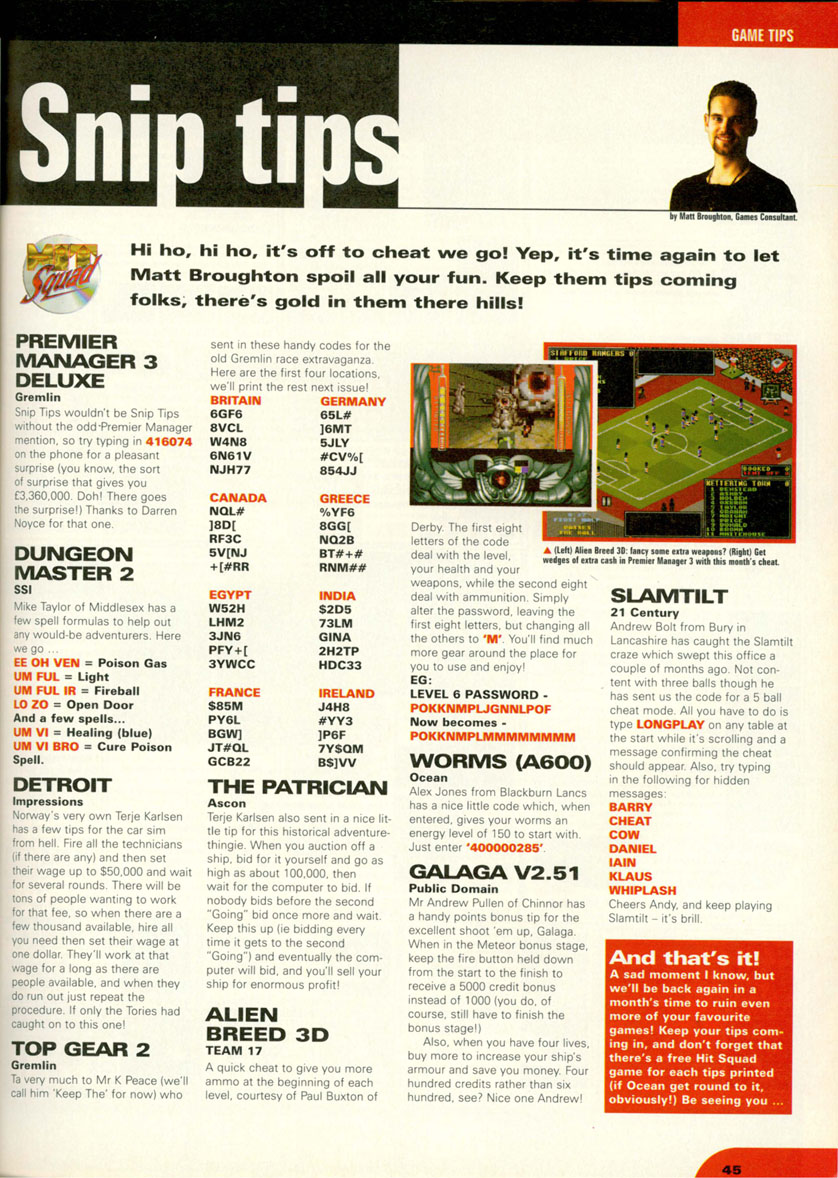 Dungeon Master II Hints published in British magazine 'CU Amiga', October 1996, Page 45
