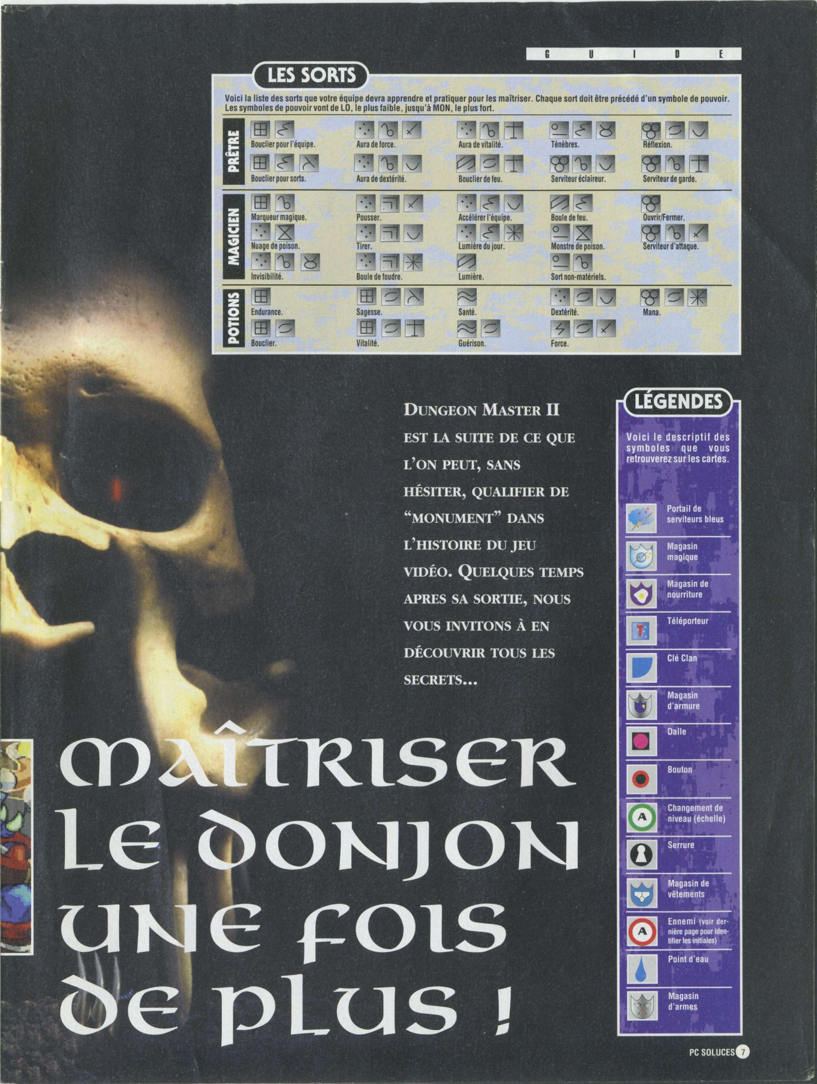 Dungeon Master II solution published in French magazine 'PC Soluces', Issue#1, February-March 1996, Page07