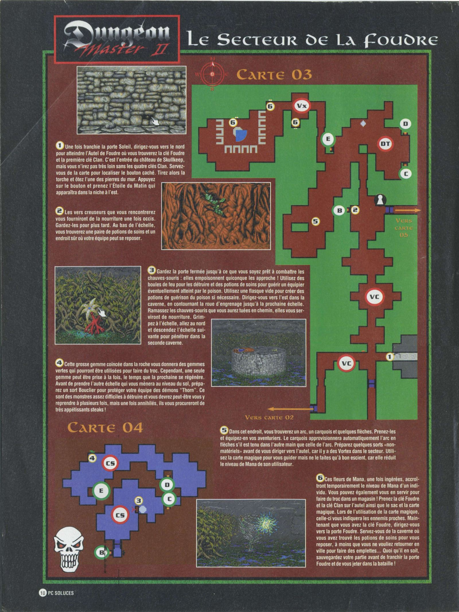 Dungeon Master II solution published in French magazine 'PC Soluces', Issue#1, February-March 1996, Page10