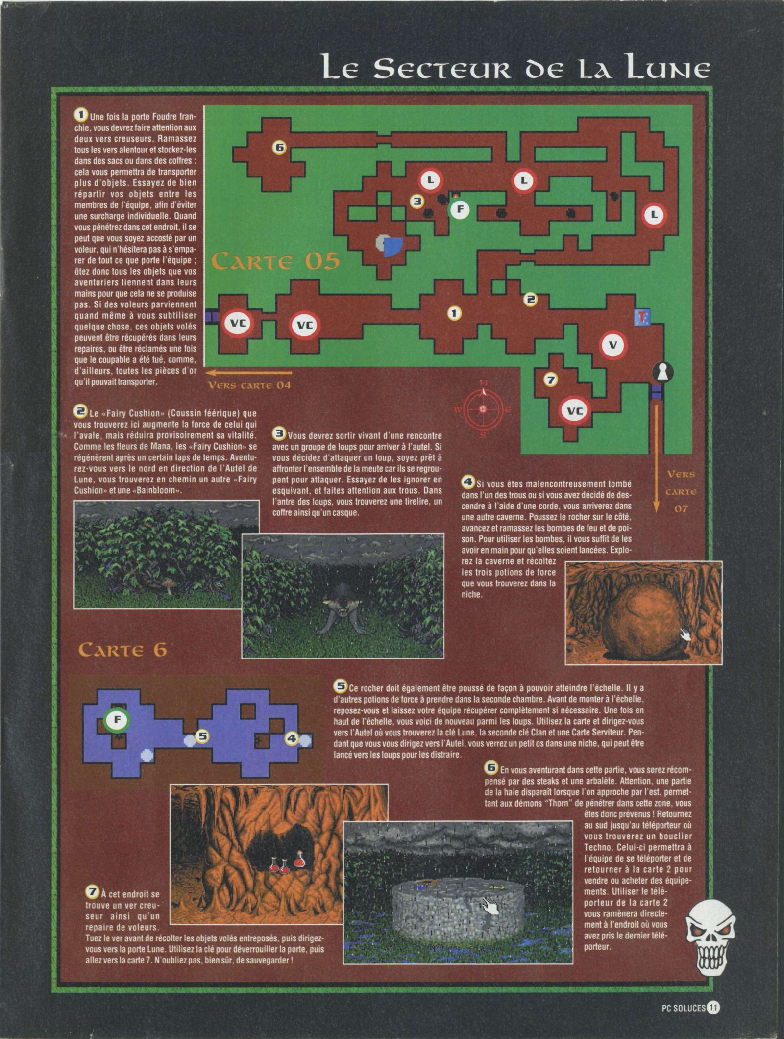 Dungeon Master II solution published in French magazine 'PC Soluces', Issue#1, February-March 1996, Page11