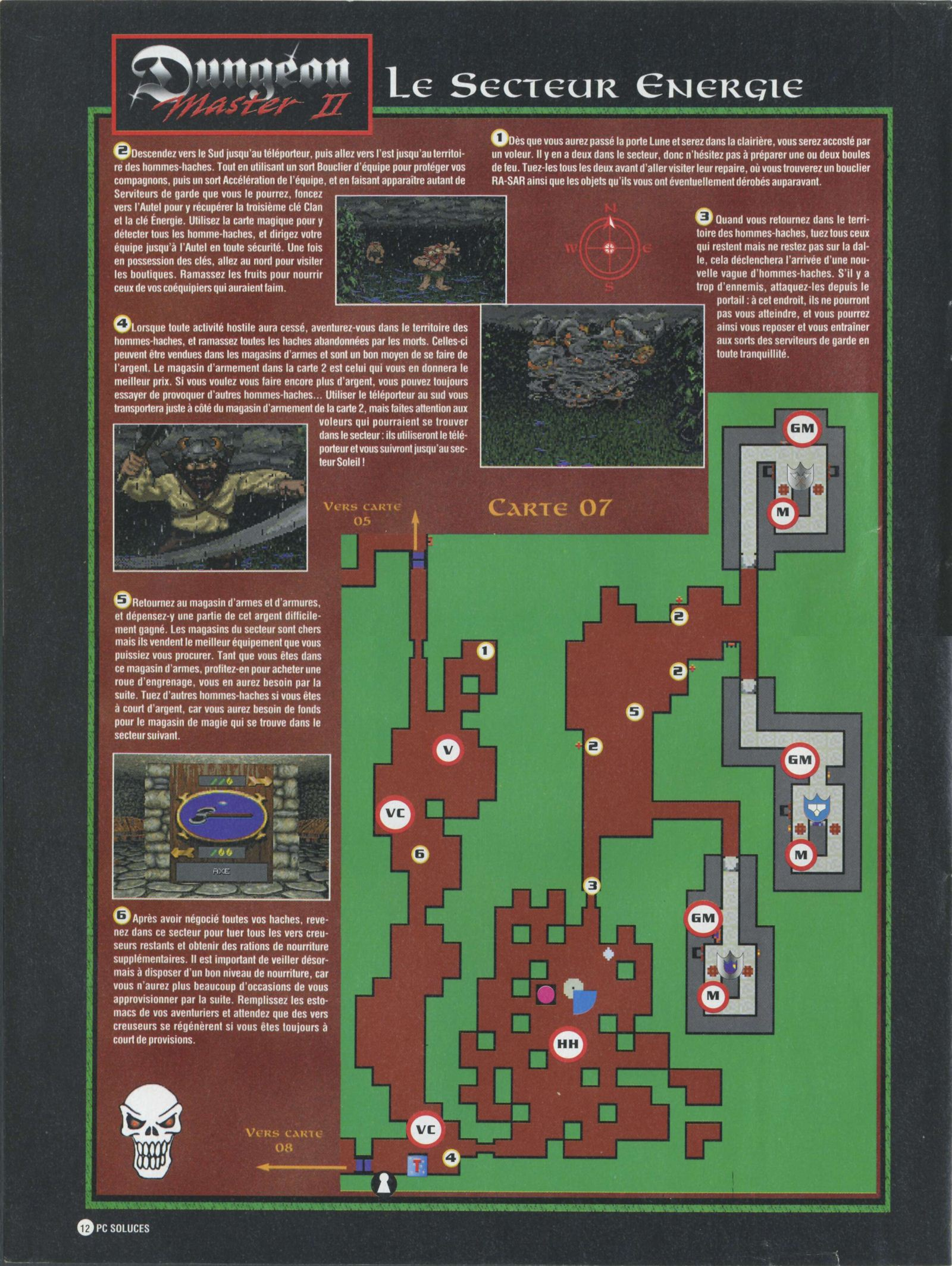 Dungeon Master II solution published in French magazine 'PC Soluces', Issue#1, February-March 1996, Page12