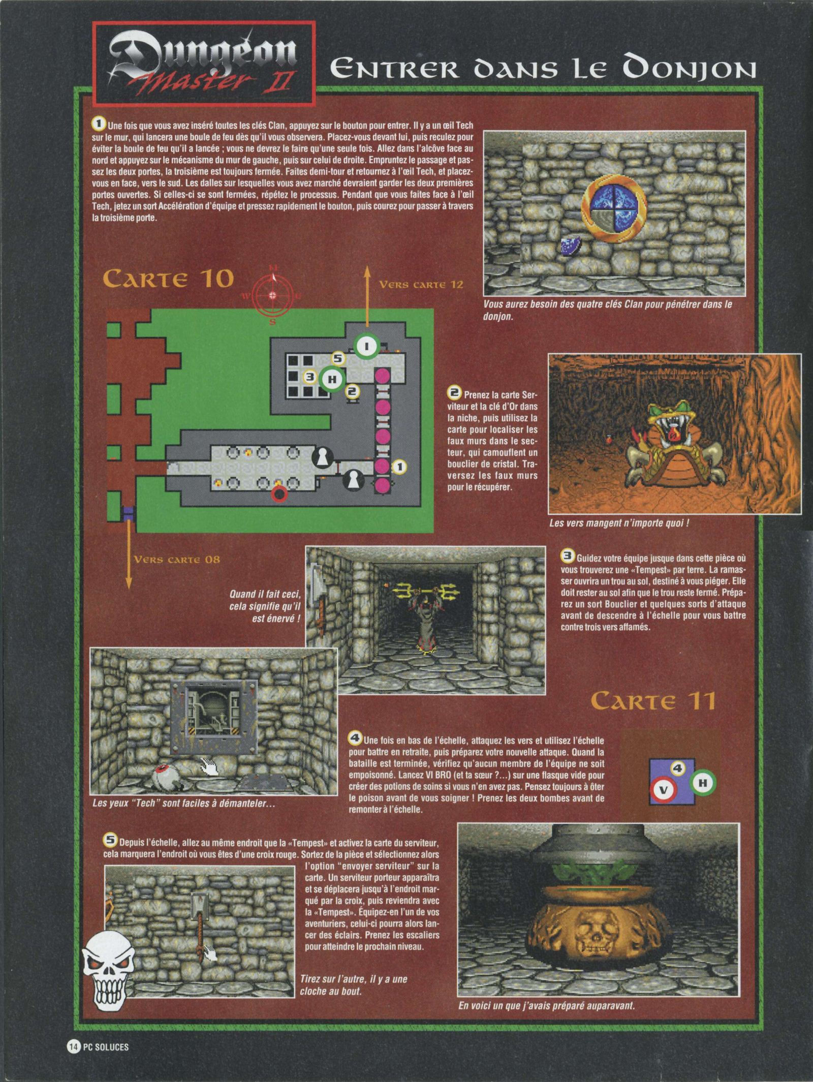 Dungeon Master II solution published in French magazine 'PC Soluces', Issue#1, February-March 1996, Page14
