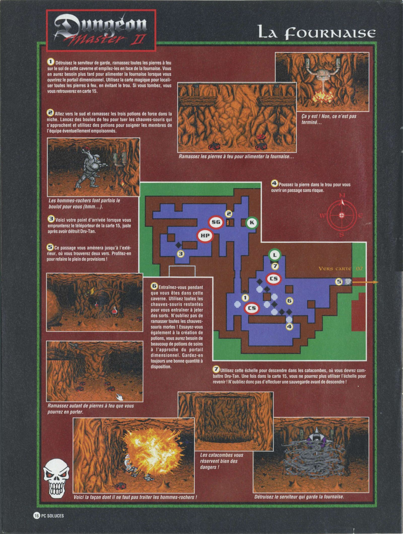 Dungeon Master II solution published in French magazine 'PC Soluces', Issue#1, February-March 1996, Page16