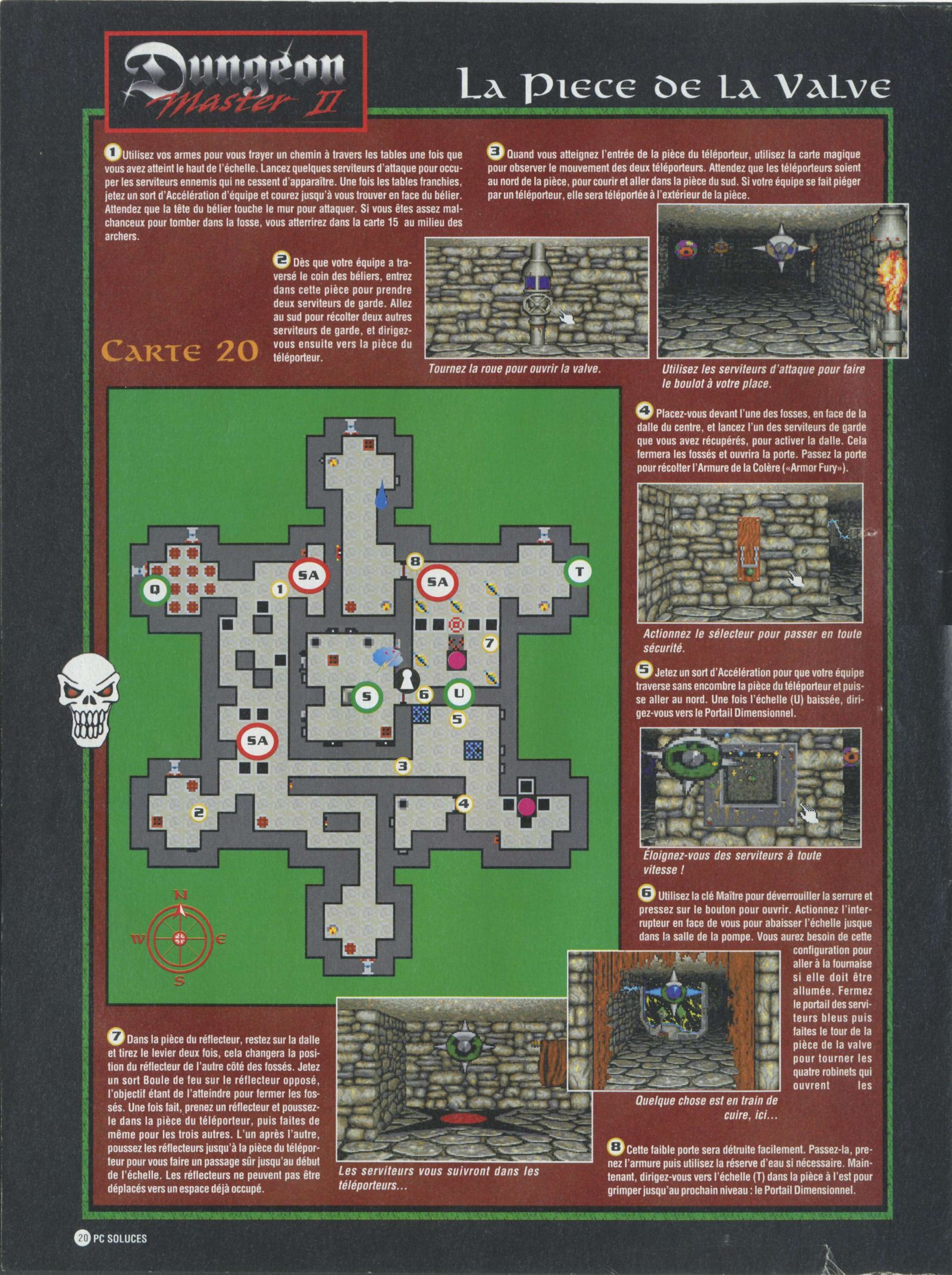 Dungeon Master II solution published in French magazine 'PC Soluces', Issue#1, February-March 1996, Page20