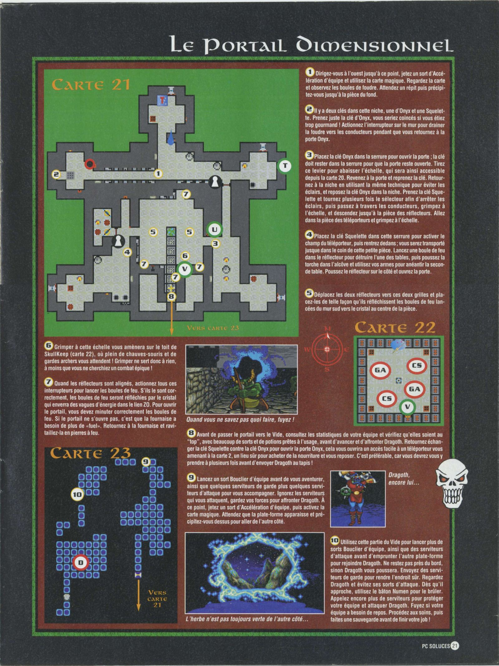 Dungeon Master II solution published in French magazine 'PC Soluces', Issue#1, February-March 1996, Page21