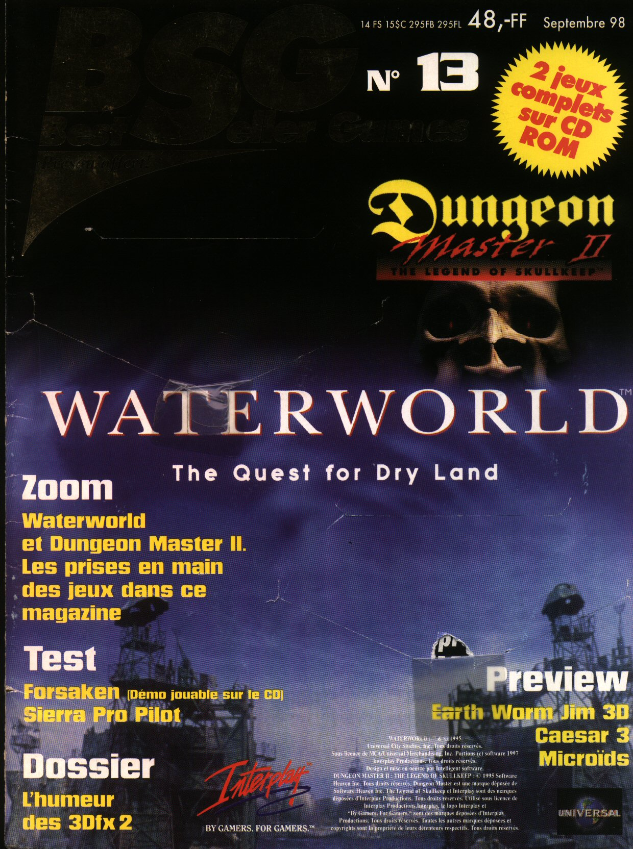 Dungeon Master II for PC (French) - CD version from French magazine 'Best Seller Games' Issue #13, September 1998 - Cover