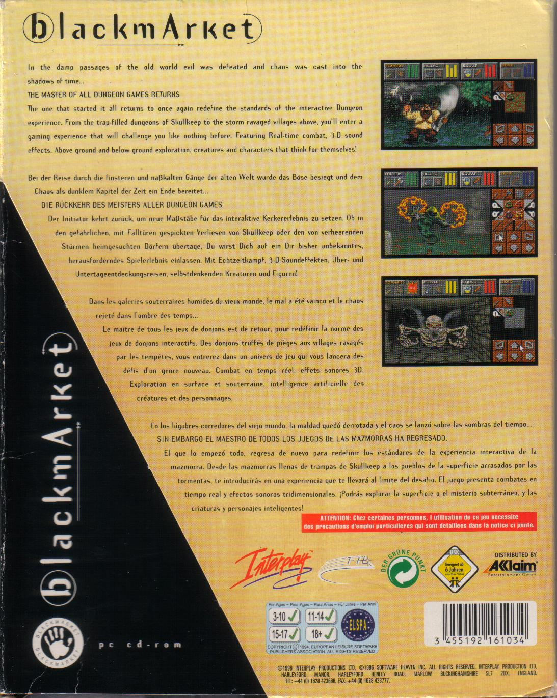 Dungeon Master II for PC (Blackmarket) - Box Back