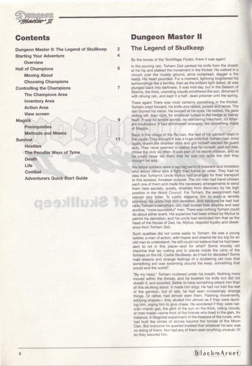 Dungeon Master II for PC (Blackmarket) Manual - Contents (English)