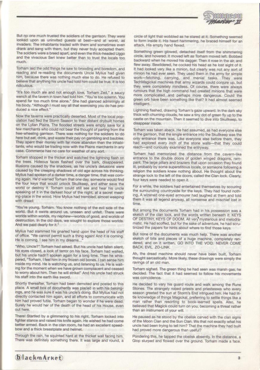 Dungeon Master II for PC (Blackmarket) Manual - Page 3