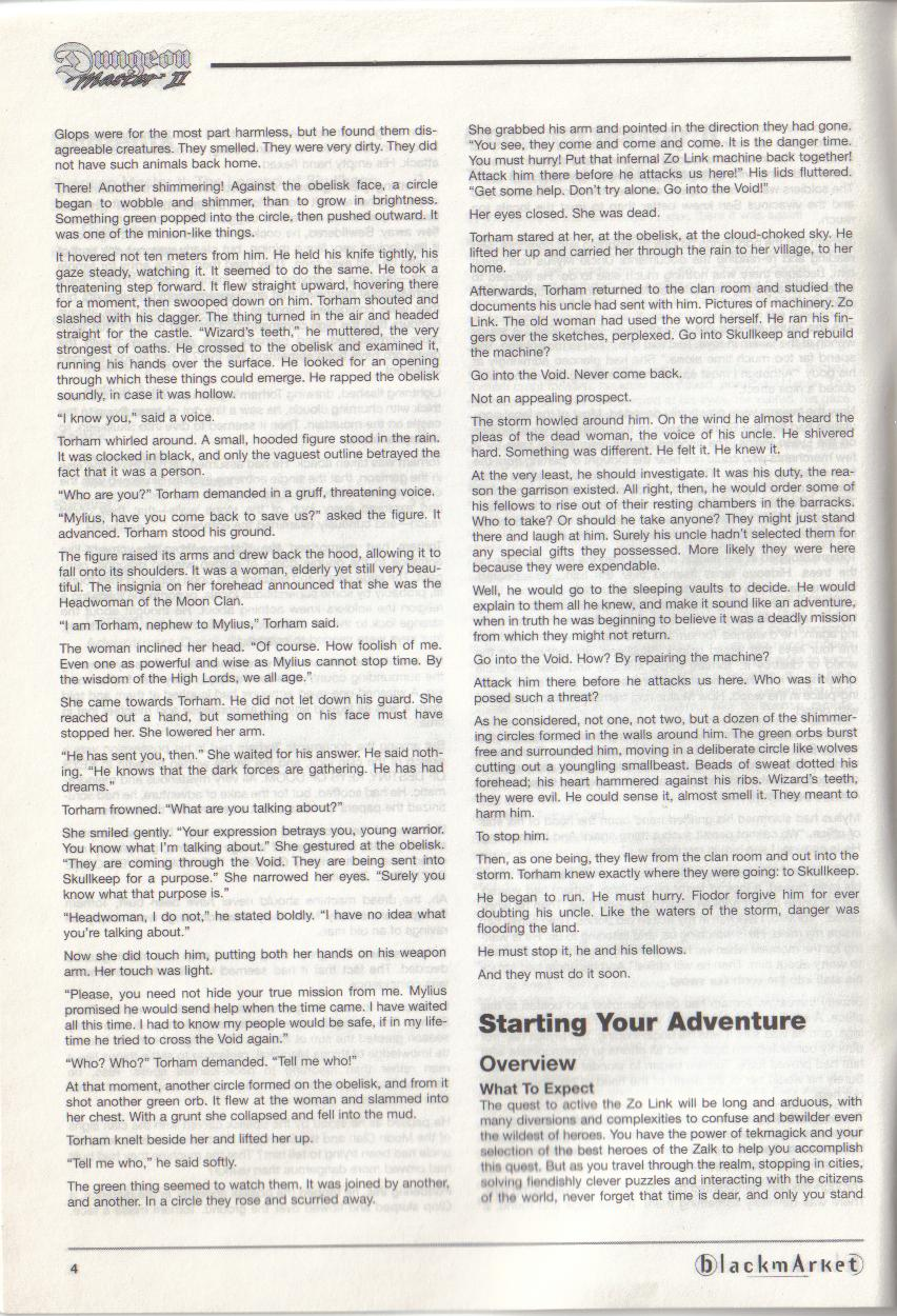 Dungeon Master II for PC (Blackmarket) Manual - Page 4