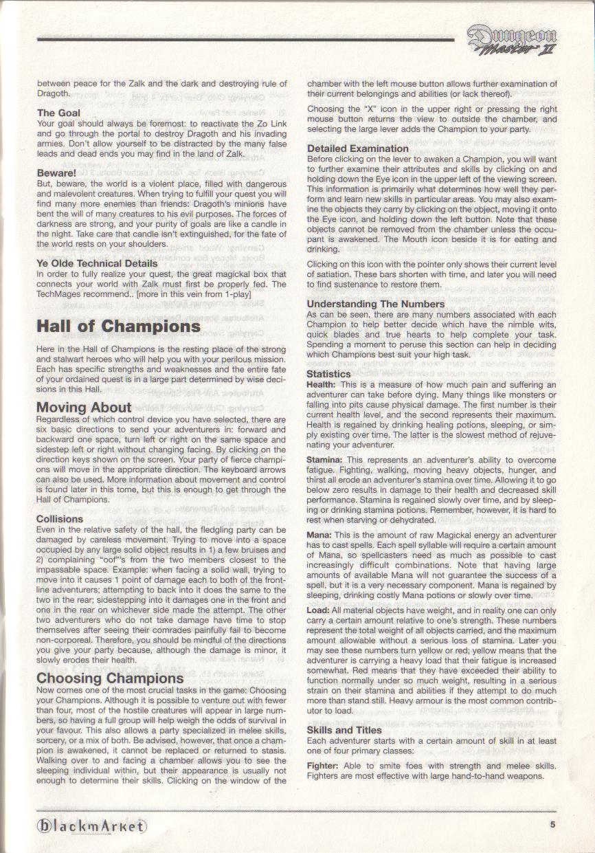 Dungeon Master II for PC (Blackmarket) Manual - Page 5