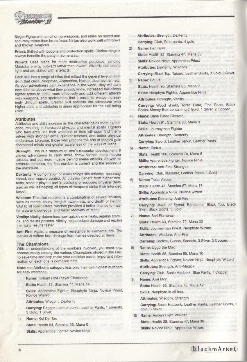 Dungeon Master II for PC (Blackmarket) Manual - Page 6