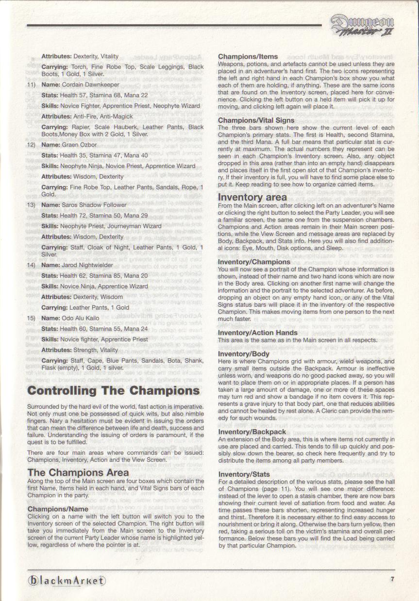 Dungeon Master II for PC (Blackmarket) Manual - Page 7