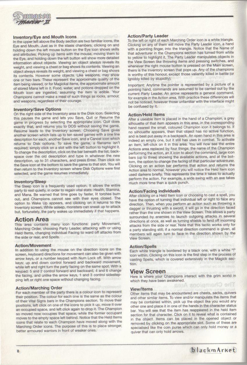 Dungeon Master II for PC (Blackmarket) Manual - Page 8