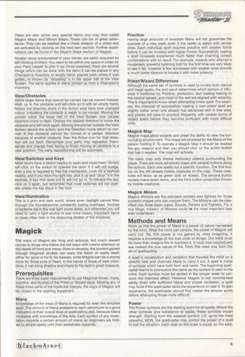 Dungeon Master II for PC (Blackmarket) Manual - Page 9
