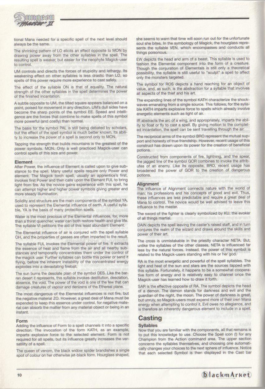 Dungeon Master II for PC (Blackmarket) Manual - Page 10