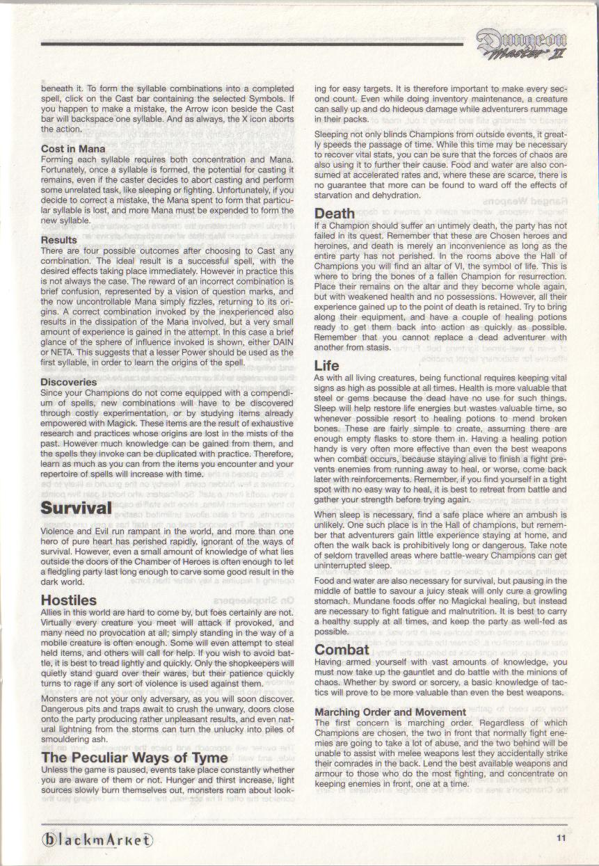 Dungeon Master II for PC (Blackmarket) Manual - Page 11