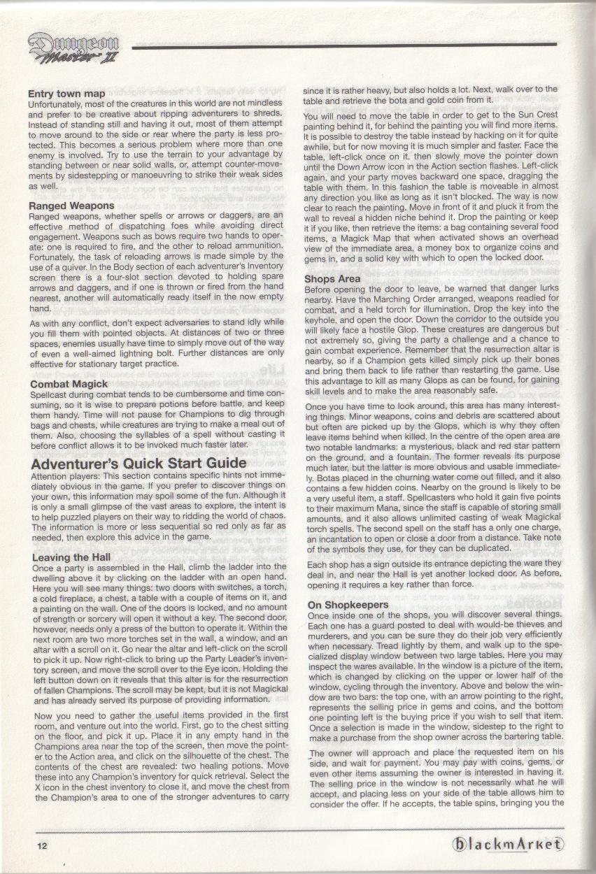 Dungeon Master II for PC (Blackmarket) Manual - Page 12