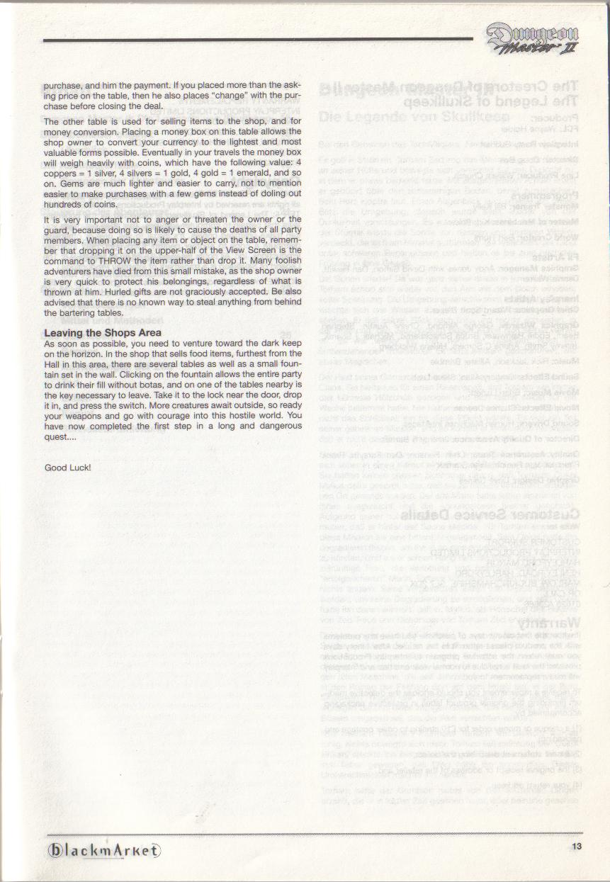 Dungeon Master II for PC (Blackmarket) Manual - Page 13