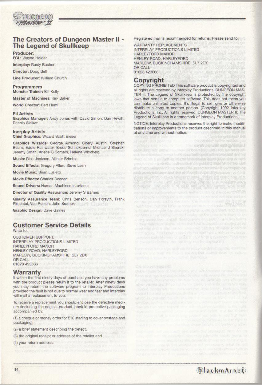 Dungeon Master II for PC (Blackmarket) Manual - Credits / Copyright (English)