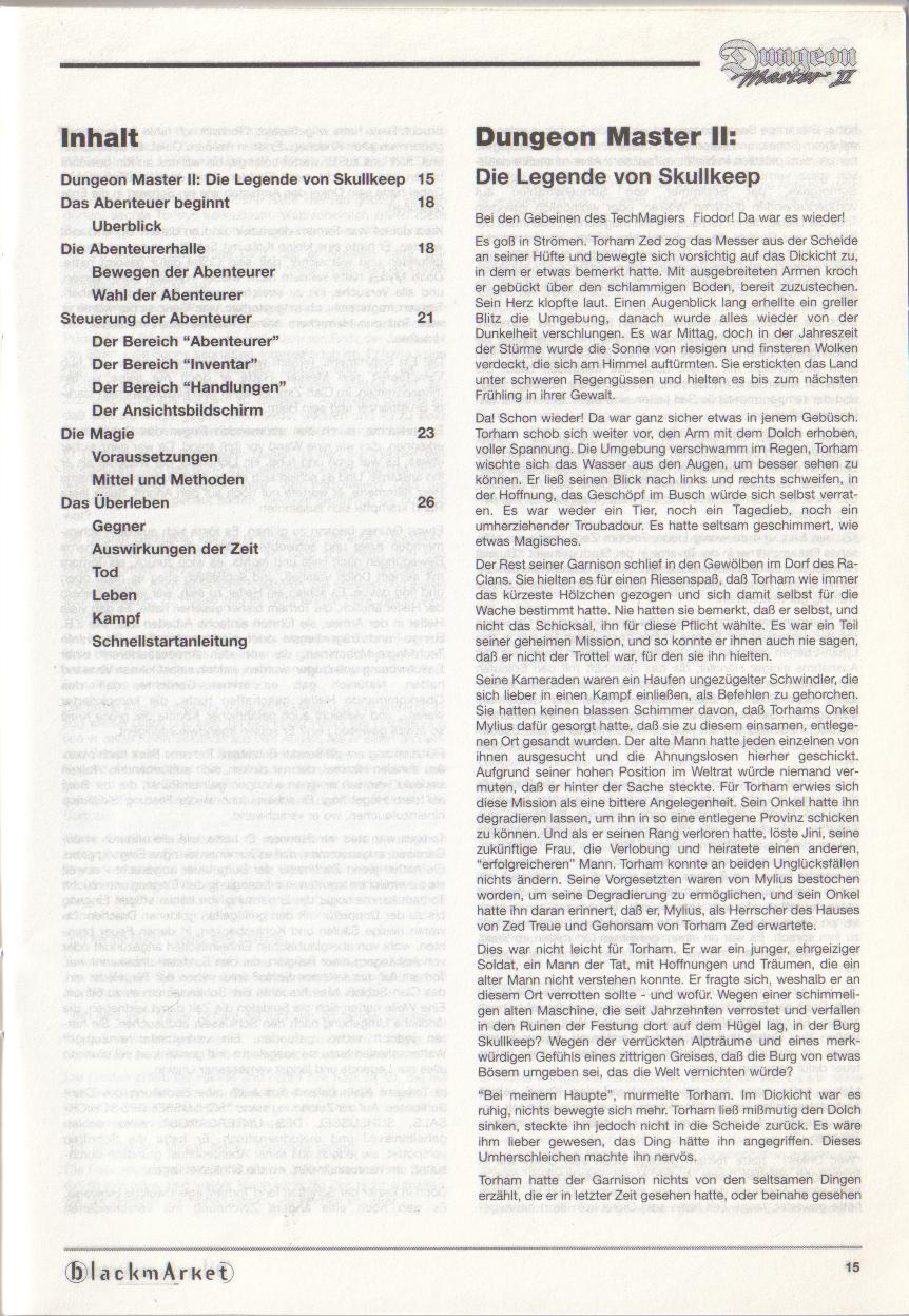 Dungeon Master II for PC (Blackmarket) Manual - Contents (German)
