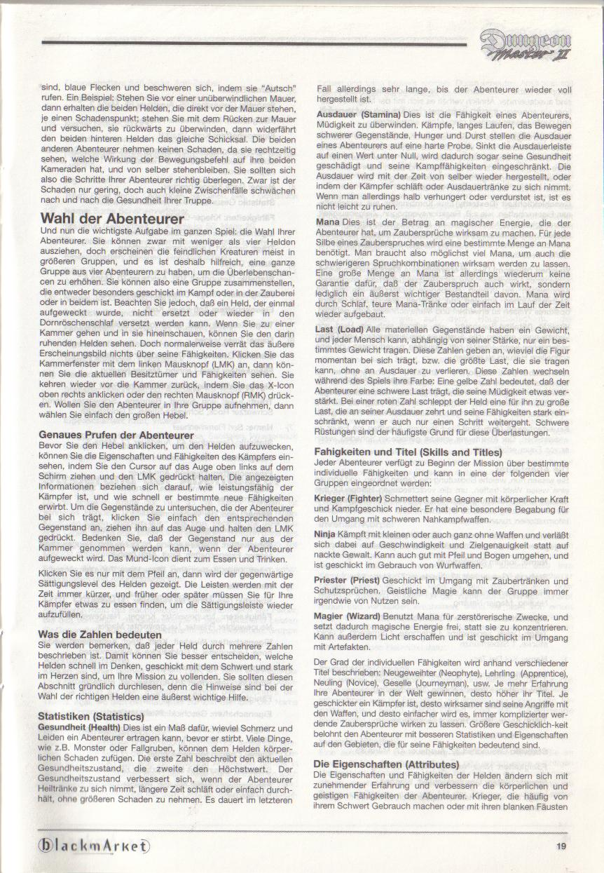 Dungeon Master II for PC (Blackmarket) Manual - Page 19