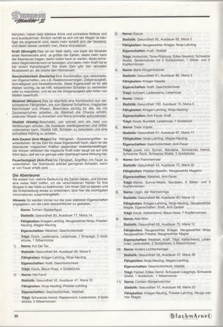Dungeon Master II for PC (Blackmarket) Manual - Page 20